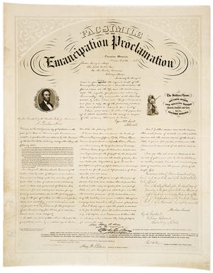 A facsimile of the Emancipation Proclamation.