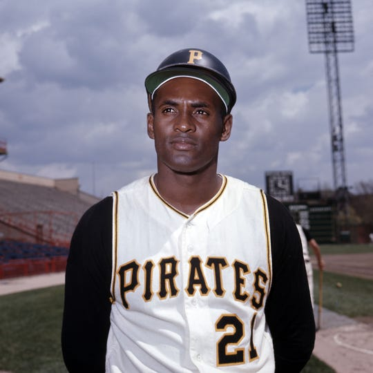 Pittsburgh, PA, USA; FILE PHOTO; Pittsburgh Pirates outfielder Roberto Clemente (21) poses for a portrait at Forbes Field.