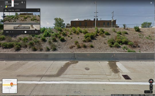 Google Maps street view image shows liquid coming from crevice on I-696 retaining wall in July of 2016.