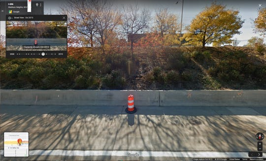 Google Maps street view image shows no liquid coming from crevice on I-696 retaining wall in October 2015.