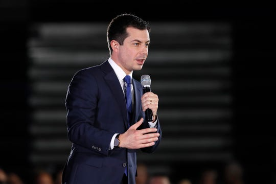 Democratic presidential candidate former South Bend, Ind., Mayor Pete Buttigieg speaks during a campaign rally, Sunday, Dec. 22, 2019, in Indianola, Iowa.