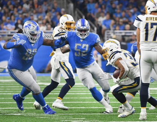 Lions linebacker Christian Jones (52) had 51 tackles this season, his sixth in the NFL, and tied his career-high with two sacks. He missed the final three games with the shoulder injury.