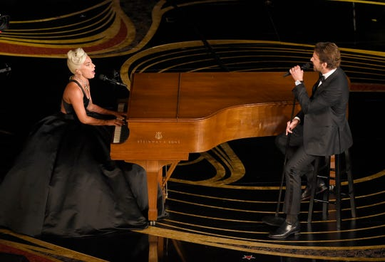 "This Feb. 24, 2019 file photo shows Lady Gaga, left, and Bradley Cooper performing ""Shallow"" from ""A Star is Born"" at the Oscars in Los Angeles."