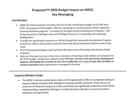 "The Michigan Economic Development Corp. says budget cuts to development efforts send a message that the state is ""unilaterally disarming"" in this ""messaging"" document."