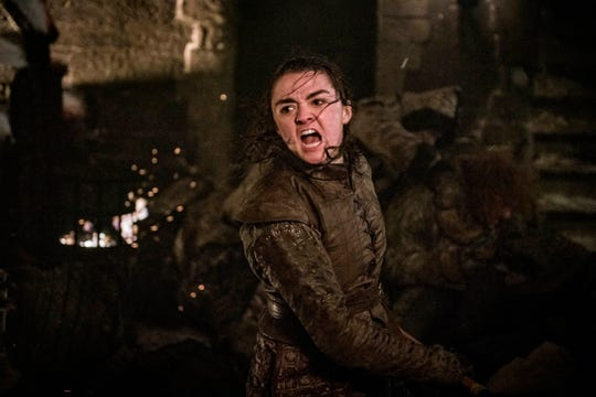 "This image released by HBO shows Maisie Williams as Arya Stark in a scene from ""Game of Thrones."" It was neither Jon Snow nor Daenerys who won the climactic Battle of Winterfell on ""Game of Thrones."" It was Arya Stark, who bravely launched herself at The Night King and stabbed the White Walker leader, ending his reign of terror and turning the Army of the Dead into frozen dust."