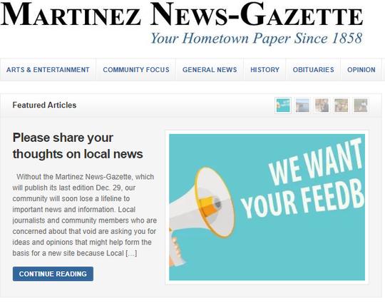 The Martinez News-Gazette, a California newspaper, ends print publication after 161 years.