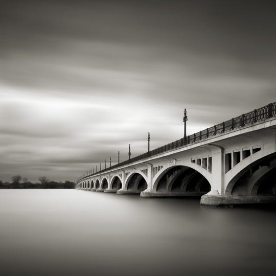 """""""Belle Isle Bridge"""" by Jeff Gaydash, in """"Michigan's Great Lakes"""" at the Detroit Institute of Arts."""