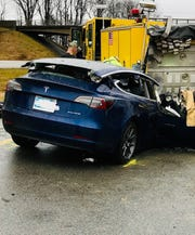 Driver Derrick Monet, 25, and a passenger, his wife, Jenna N. Monet, age 23, both of Prescott Valley, Arizona, received serious injuries after their 2019 Tesla ran into the rear of a parked fire truck on Sunday, Dec. 29, 2019,  on I-70 in Putnam County, Indiana.