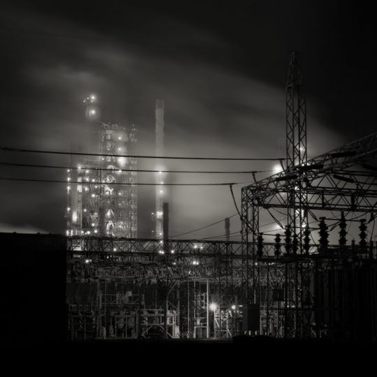 """Gaydash's """"Refinery"""" is not in the DIA show, but is a good example of the photographer's earlier focus on the beauty of industry."""