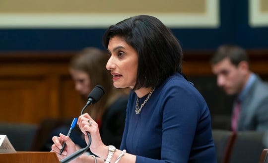 Centers for Medicare and Medicaid Services Administrator Seema Verma testifies before the House Commerce Subcommittee on Oversight and Investigations as the panel examines the affect of the Trump Administration's policies on health care, on Capitol Hill in Washington, Wednesday, Oct. 23, 2019.