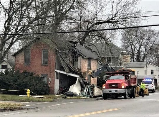 A pickup truck crashed into the porch of a home in Montour Falls on Monday afternoon.
