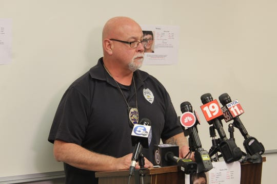 Port Clinton Police Chief Rob Hickman addresses several media outlets Monday at the Port Clinton Police Department regarding the continuing search for Harley Dilly. Dilly, 14, was reported missing Dec. 21.