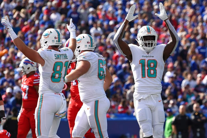 Former Colorado State football player and Miami Dolphins wide receiver Preston Williams (18) had 32 catches for 428 yards and three touchdowns in 2019 as a rookie before suffering a torn ACL.