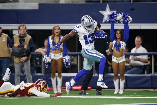 Former Colorado State football player and Dallas Cowboys wide receiver Michael Gallup (13) scores a touchdown against Washington in Week 17. He finished 2019 with 1,107 yards and six touchdowns.