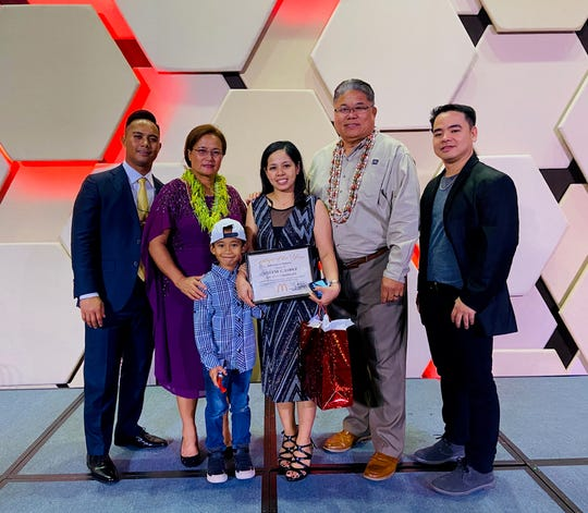 From left: Joe E. Ayuyu, Jr., area supervisor, McDonald's of Yigo, Marcia E. Ayuyu, owner/operator, Mylene C. Lopez, McDonald's of Tamuning, Pacifico R. Martir, Jr., director of QSC, Vilmore F. Santiago, general manager, McDonald's of Tamuning.