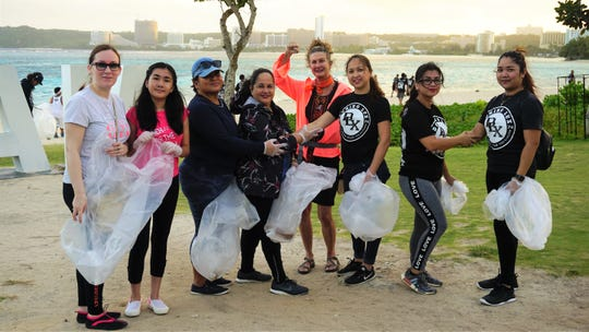 DLX sorority sisters getting started at the clean-up.