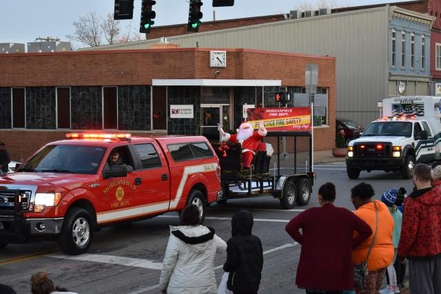 Santa was one highlight of the Jingle Bell Rock Christmas Parade in Morganfield on Dec. 22, 2019 sponsored by the Morganfield Fire Department.