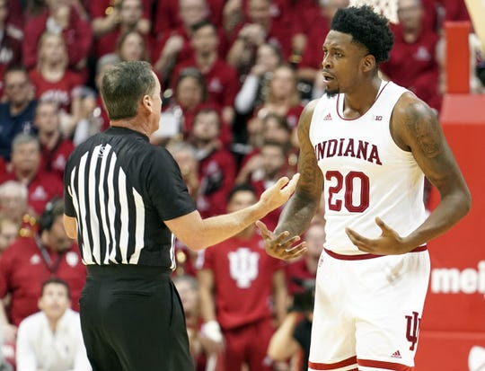 Indiana Hoosiers forward De'Ron Davis (20) talks with an official during the game against Arkansas at Simon Skjodt Assembly Hall in Bloomington, Ind., on Sunday, Dec. 29, 2019.