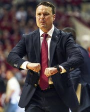 Indiana Hoosiers head coach Archie Miller yells at an official during the game against Arkansas at Simon Skjodt Assembly Hall in Bloomington, Ind., on Sunday, Dec. 29, 2019.