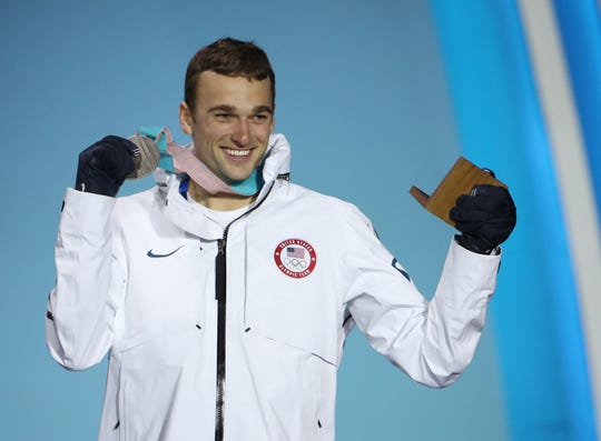 Silver medalist Nick Goepper (USA) during the medals ceremony for the ladies' 1500 short track speedskating in the Pyeongchang 2018 Olympic Winter Games at Medals Plaza.