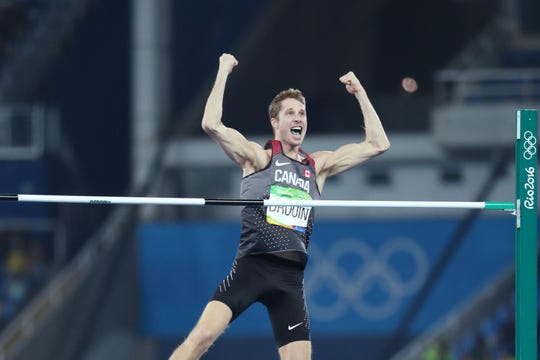 Derek Drouin (CAN) reacts during the men's high jump final in the Rio 2016 Summer Olympic Games at Estadio Olimpico Joao Havelange.