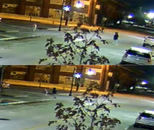 Lafayette police are looking for a man, seen on the right, who approached a woman, tackled her and then stole her car Monday morning, Dec. 30, 2019, at Fifth and Ferry streets in downtown Lafayette.