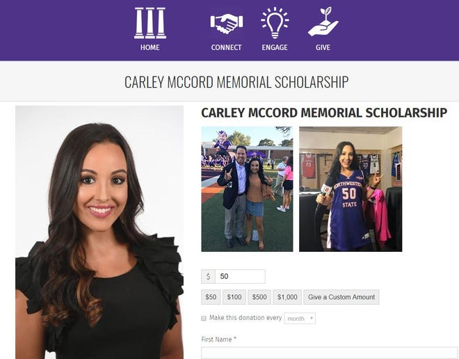 A memorial scholarship has been created at Northwestern State to honor Carley McCord, a sports reporter who was killed in a plane crash in Lafayette.