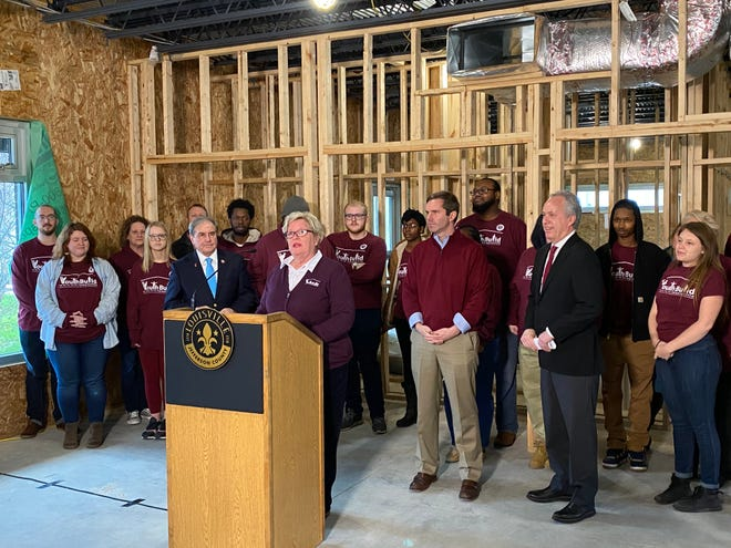 Lynn Rippy, president and CEO for YouthBuild Louisville, was joined Dec. 30 by U.S. Rep. John Yarmuth, Gov. Andy Beshear and Mayor Greg Fischer to announce a new $1.5 million federal grant.