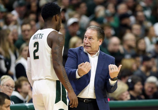 Dec 29, 2019; East Lansing, Michigan, USA;  Michigan State Spartans guard Rocket Watts (2) is talked to by Michigan State Spartans head coach Tom Izzo during the second half of a game at the Breslin Center. Mandatory Credit: Mike Carter-USA TODAY Sports