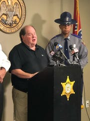 DeSoto County District Attorney John Champion speaks during a press conference Monday, Dec. 30, 2019, about a fatal shooting by sheriff's deputies the night before.