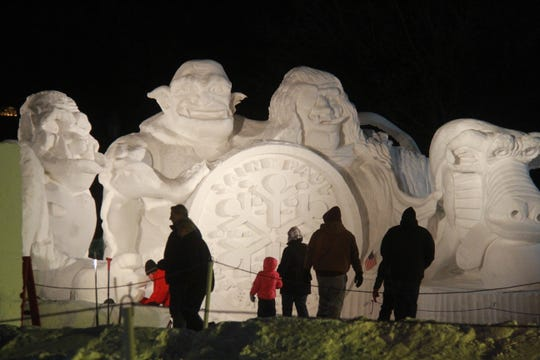 During the St. Paul winter carnival, people can compete in the Minnesota State Snow Sculpting Competition.