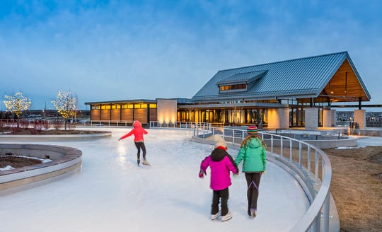 Central Park in Maple Grove, Minnesota, has an ice skating trail that winds through the park, rather than a traditional ice skating rink.