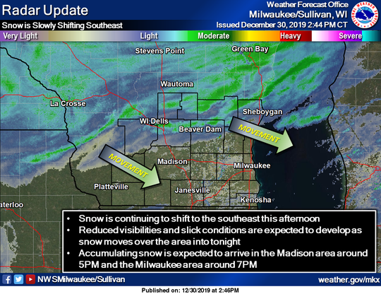 Snow is approaching southern Wisconsin and is expected to arrive in Milwaukee around 7 p.m.