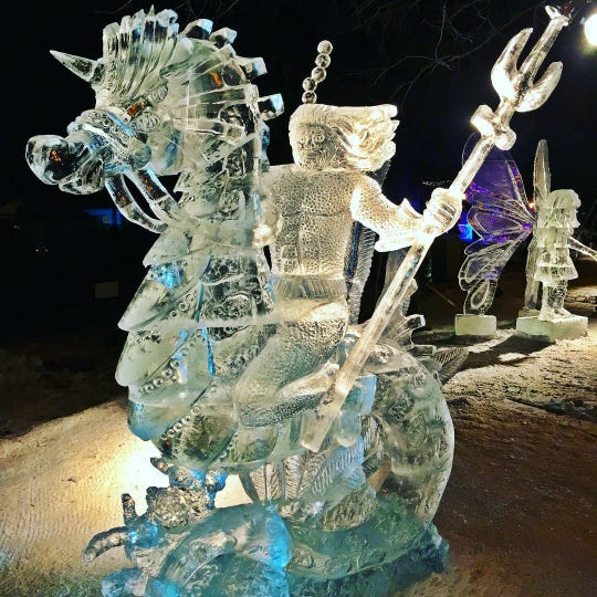 Teams are given 48 hours to create ice sculptures during the St. Paul winter carnival.