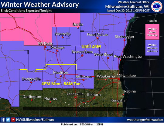 All but far southern Wisconsin is included in winter weather warnings and advisories as snow moves across the state.