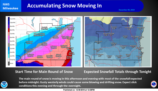 Snow is expected to move across southern Wisconsin on Monday evening.