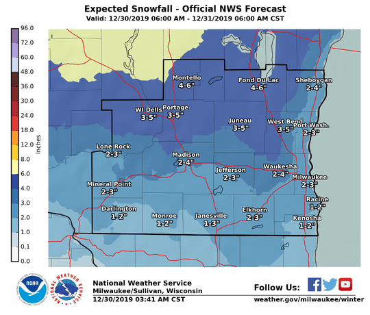 Snow is expected across all of southern Wisconsin on Monday, with most of the snow falling during the evening.