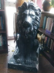 Kathie Giorgio's first and second literary lions were made of fiberglass and resin.