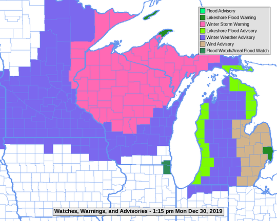 All but far southern Wisconsin is under some sort of the winter weather warning or advisory. In the Milwaukee area, Washington and Ozaukee counties are under a winter weather advisory for snow into Monday night.