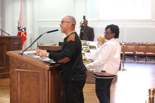 Roger McQueen and another Hunter Station neighbor complain about the Southeast Pallet & Company to the City Council