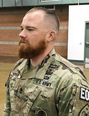 Acting first sergeant Sgt. 1st Class Benjamin Hopper, now deployed in Afghanistan,  is from Madison, Alabama.