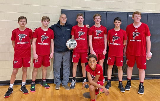 The Fairview Middle School Falcons Varsity Basketball Team are on their way to finishing the season undefeated for the first time in FMS history.   Dec. 16, 2019.