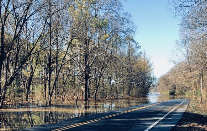 Part of Lewisburg Pike in Franklin, Tennessee, was closed because of flooding on Monday, Dec. 30, 2019.
