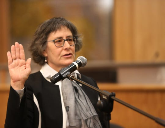 Las Cruces Municipal Presiding Judge Joy Goldbaum is sworn in to office, Monday Dec. 30, 2019.