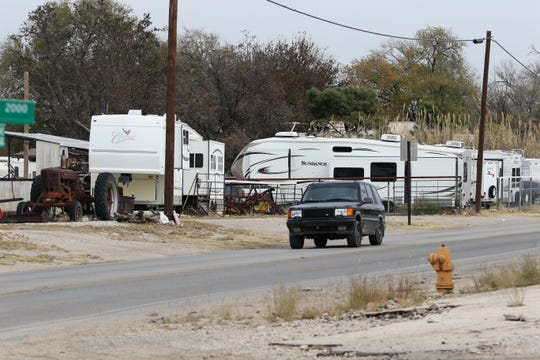 "A ""man camp,"" or temporary housing for oil and gas industry workers who reside in trailers or RV's, in Carlsbad, New Mexico. Monday, Nov. 11, 2019."
