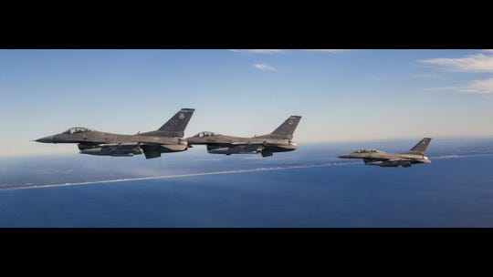 A group of F-16 Fighting Falcons from the 85th Test and Evaluation Squadron and the 40th Flight Test Squadron return to Eglin Air Force Base, Fla., after a successful test mission Dec. 19, 2019. This test successfully demonstrated shooting down a small drone at low altitudes.