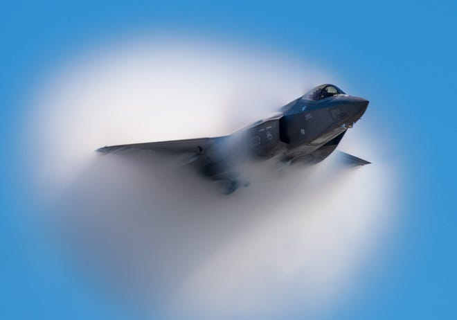 Capt. Andrew Olson, F-35 Lightning II demonstration team pilot and commander, performs aerial maneuvers during the Wings Over Houston Airshow Oct. 18, 2019, in Houston, Texas.