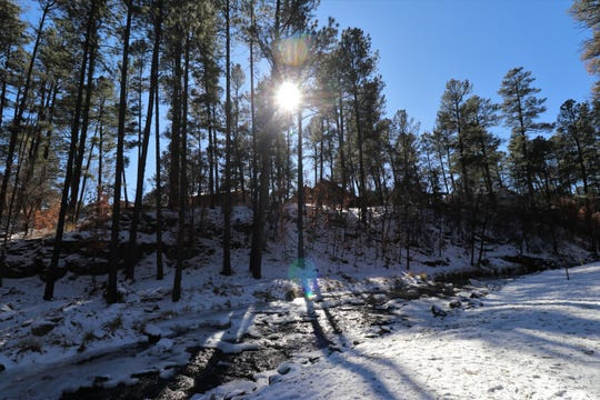The Rio Ruidoso offers a spectacular view after a snowfall.