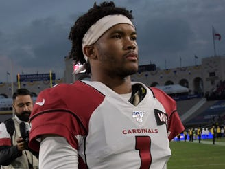 Dec 29, 2019; Los Angeles, California, USA; Arizona Cardinals quarterback Kyler Murray (1) walks off the field after the final Los Angeles Rams home game at Los Angeles Memorial Coliseum before moving to SoFi Stadium for the 2020 season. The Rams defeated the Cardinals 31-24 Mandatory Credit: Kirby Lee-USA TODAY Sports