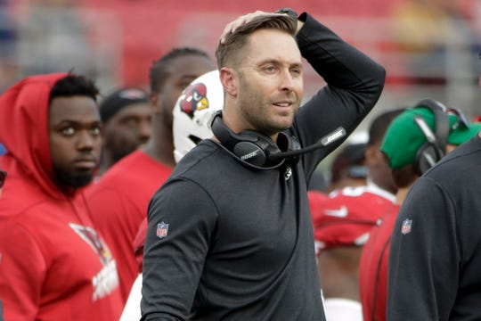 Arizona Cardinals head coach Kliff Kingsbury watches during first half of an NFL football game against the Los Angeles Rams Sunday, Dec. 29, 2019, in Los Angeles. (AP Photo/Marcio Jose Sanchez)